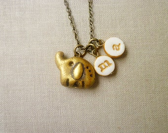 Elephant Charm Necklace, Kids letter initial, Personalized, Cute and tiny Elephant, Custom for Mom