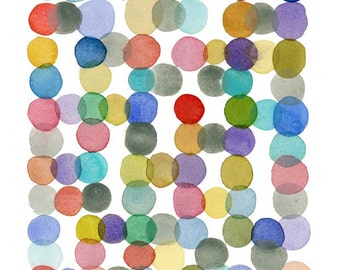 Watercolor Art print Colored dots watercolor painting - Nursery room decor - giclee print - abstract art print by Louise van Terheijden