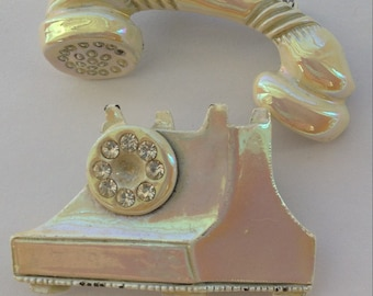 Vintage Two Piece Phone Brooch Iridescent