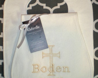 Personalized Bib/ Burp Cloth Set for Baptism or Christening gift