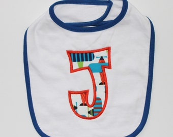 PERSONALIZED White and Blue Airplanes Bib with Appliqued Initial