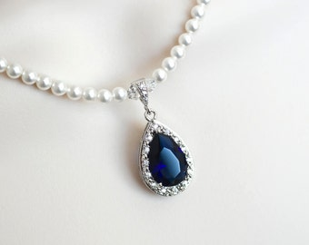 Blue Sapphire Necklace, Bridal Necklace, Bridal Pearl and Blue Sapphire Teardrop Necklace, Something Blue Necklace, Wedding Bridal Jewelry