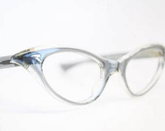 Unused Gray Curly Cat Eye Glasses Cateye Frames Vintage Eyewear 1960s Eyeglasses New Old Stock
