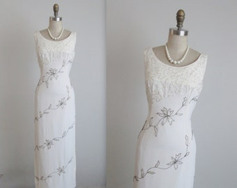 50's Beaded Wedding Gown // Vintage 1950's White Beaded Rayon Fitted Wedding Party Wiggle Column Dress XS Gown