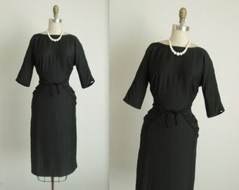 50's Cocktail Dress //  Vintage 1950's Ruched Black Fitted Cocktail Party Wiggle Dress S