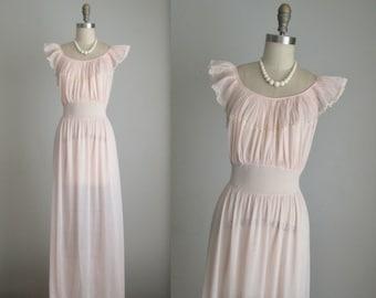 50's Blush Slip // Vintage 1950's Sheer Pleated Nylon Lace Blush Chiffon Goddess Slip Gown M