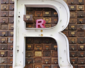Vintage Marquee Sign Letter Capital 'R': Very Large White Metal Wall Hanging Initial -- Industrial Neon Channel Advertising Salvage