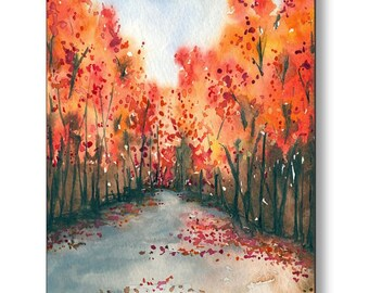 Birchwood or Metal Art Print - Autumn Landscape Print Home Decor