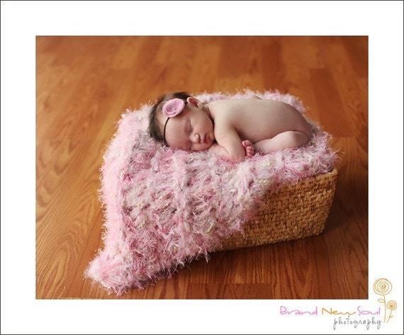 Pink Blanket Baby Photo Prop Pink, Ivory, Pale Blush Rose for Girls Photography Prop