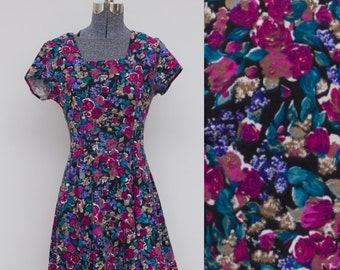 Vintage 90's Purple Floral Dress