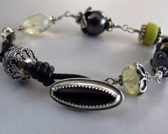 Black Onyx, Leather, Sterling Toggle Bracelet; Knotted Leather and Gemstone Bracelet; Vintage Bali Sterling Gemstone Bracelet