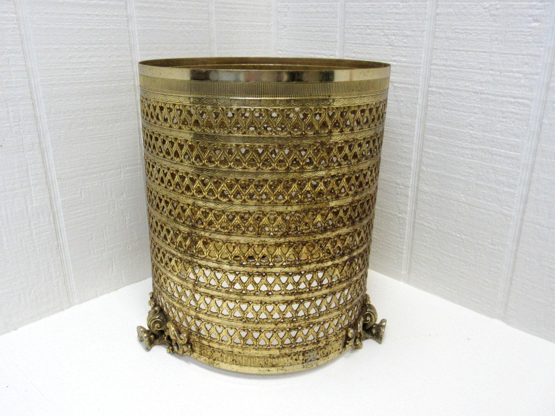 Vintage filigree trash can waste basket cover gold color - Covered wastebasket ...