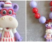 Hallie Hippo necklace, Doc Mcstuffins chunky necklace, Doc McStuffins birthday Hallie polymer clay pendant