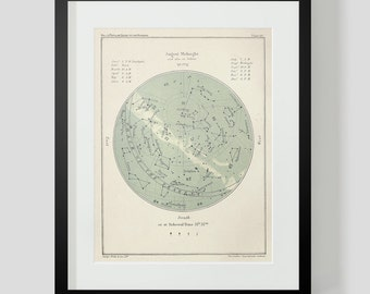 August Constellation Star Chart Popular Guide to the Heavens Art Print 46