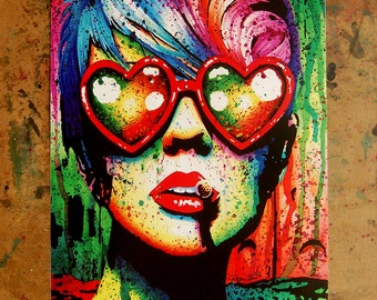 Signed Art Print Punk Rock Pop Art Rainbow Splatter Portrait - Electric Wasteland by Carissa Rose - 5x7, 8x10, or Apprx 11x14