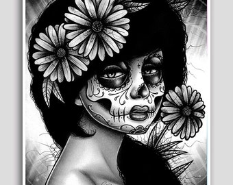18x24 inch Poster - Fine Art Decor - Dia De Los Muertos Day of the Dead Sugar Skull Girl - Black and White - Daisy by Carissa Rose