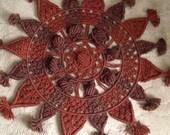 GIANT Vintage Macrame Sun Mandala Wall Hanging