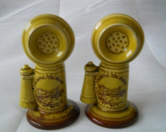 Old Fashion Telephone Salt and Pepper Shakers - vintage, collectible, souvenir, serving, kitchen