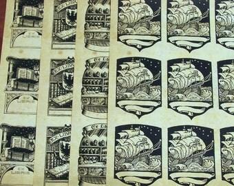 Antique Style Bookplates Instant Download, includes Nautical Sailing Ship, Ex Libris