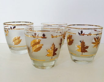 Vintage Set of Four Drinking Glasses with Leaves