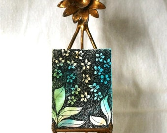 Teal Abstract watercolor aceo gift tag pen and ink floral with ribbon turquoise blue