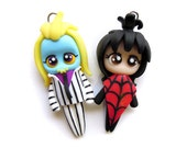 Beetlejuice and Lydia - Miniature Sculpture - Charm Figurine