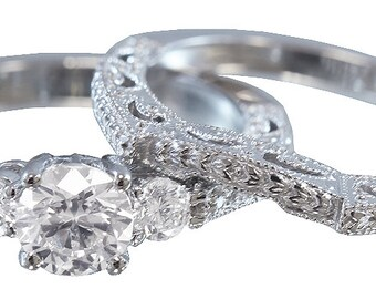 14k white gold round cut diamond engagement ring and band 0.90ctw