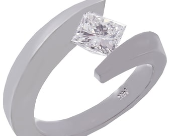 14k white gold princess cut diamond engagement ring tension set solitaire1.00ct