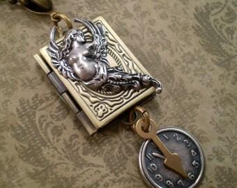 Locket, Handmade Jewelry, Book Locket, Gift for Her, Special Occassion Gift, Locket Angel Clock, Keepsake Locket