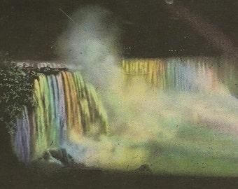 Horseshoe Falls Illumination Niagara Falls at Night 1927 Vintage Postcard