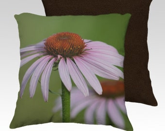 Purple Coneflower Echinacea ~ Velveteen Decorative Pillow Cover 18x18 Romantic Spring or Summer Home Décor Accent Unique Home Decor Accent