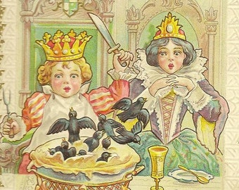 Nursery Rhyme Postcard Sing a Song of Sixpence Nursery Rhyme on Vintage Postcard 1910 Hand Cancel Embossed Colorful Antique Postcard