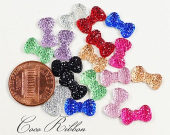 50 Pieces 12mm Small Tiny Rhinestone Sparkle Bow Bows Flatback Resin Cabochons - 9 Colors (C24)