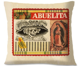 Mexican Pillow Cover - Mexican/Southwest Decor - Day of the Dead - Mexican Folk Art - Madonna - European Linen Backing