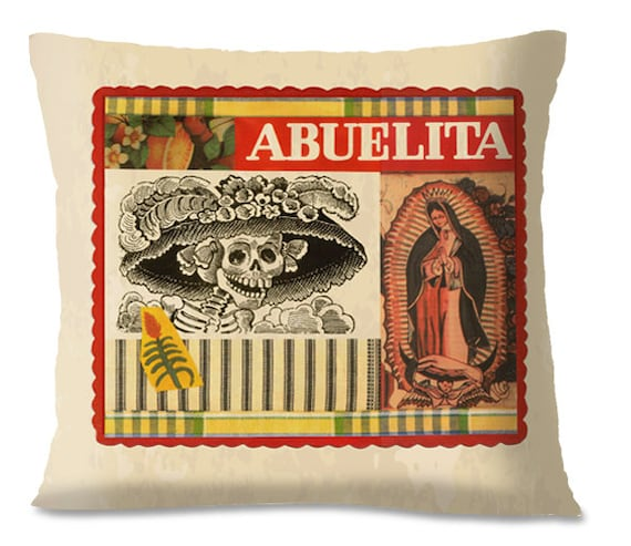 ABUELITA Pillow Cover - Mexican/Southwest - Day of the Dead - El Dia de LOS MUERTES  - Linen backing