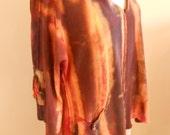 Raglan Tunic Cocoa Apricot Brick Hand Painted Hand Dyed Hemp & Organic Cotton Women's Size M/L