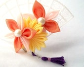 Bright Colors Kanzashi Fan Hair Clip with Flowers and Purple Tassel