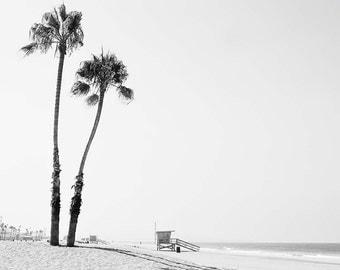 "Black And White Beach Photography, Palm Trees, Los Angeles California Beach, Lifeguard Tower, Beach Photography, ""Dockweiler Beach"""