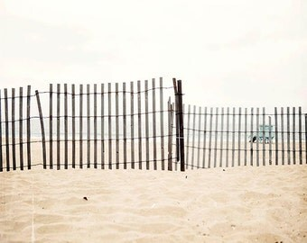 "Seashore Photography, Coastal Living, Wooden Beach Fence, Beach Cottage Decor, Manhattan Beach California, Seaside Beach ""By The Seashore"""