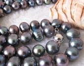 Pearl Necklace -40 inches 8-10mm Peacock Freshwater Pearl Necklace Strand Jewelry - Free shipping
