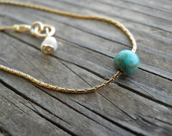 Bridesmaid Necklace, Bridal Tiny Teal Howlite Turquoise Bead Threaded Necklace, 14K Gold Filled Necklace, Minimalist Pendant, Gift For Her