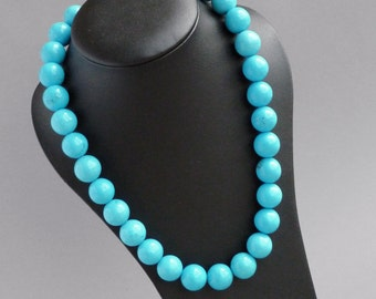 Chunky Turquoise Necklace - Caribbean Blue Chunky Bead Necklace - Bridesmaids Gifts - Sea Blue Stone Jewelry - Neon Azure Blue Necklace