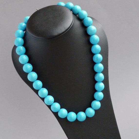 chunky turquoise necklace caribbean blue chunky bead