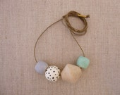 Bicone Wooden Bead Necklace with glazed speckled bead