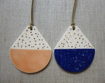 Speckled Blue 2 tone Disc Pendant with Gold Specks SALE