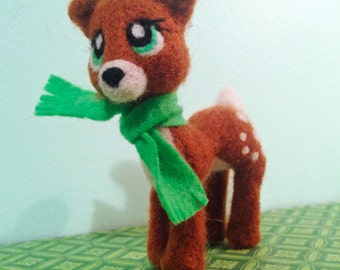Felted Green Eyed Deer with Matching Green Scarf