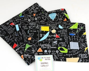 READY TO SHIP! Reusable Sandwich and Snack Sack Bags in Algebra Geometry Calculus Trigonometry Math - Timeless Treasures