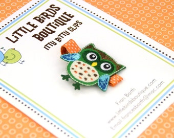Baby Toddler Hair Clip/Bow - ONE Orange Green Turquoise Owl Hair Clip