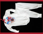Raggedy Ann and Andy Thermal Onesie Bodysuit & Leggings 2-pc set 6 - 12 months White Blue Red Hearts