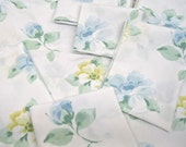 VINTAGE SHEET Fat Quarter Blue Floral with Yellow on White VSB-07 Retro Bed Linen 1960s 1970s